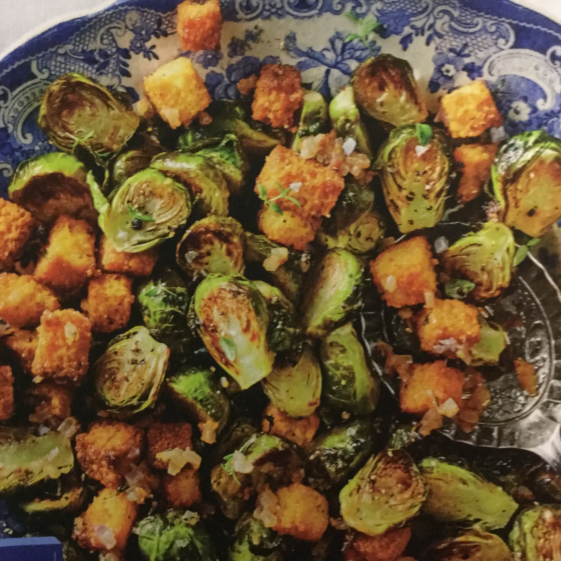 Roasted Brussels Sprouts With Toasted Cornbread Croutons