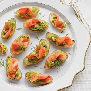 Savory Fingerling Potatoes With Avocado And Smoked Salmon Appetizers