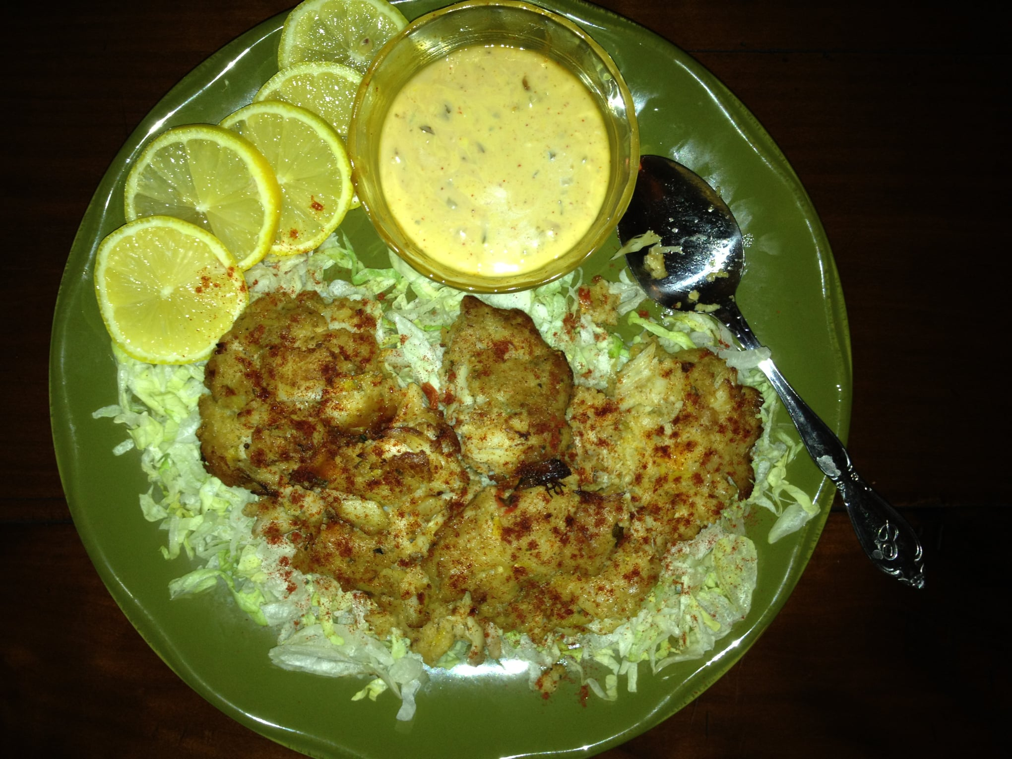 Crab Cakes Over Bleu Cheese Slaw