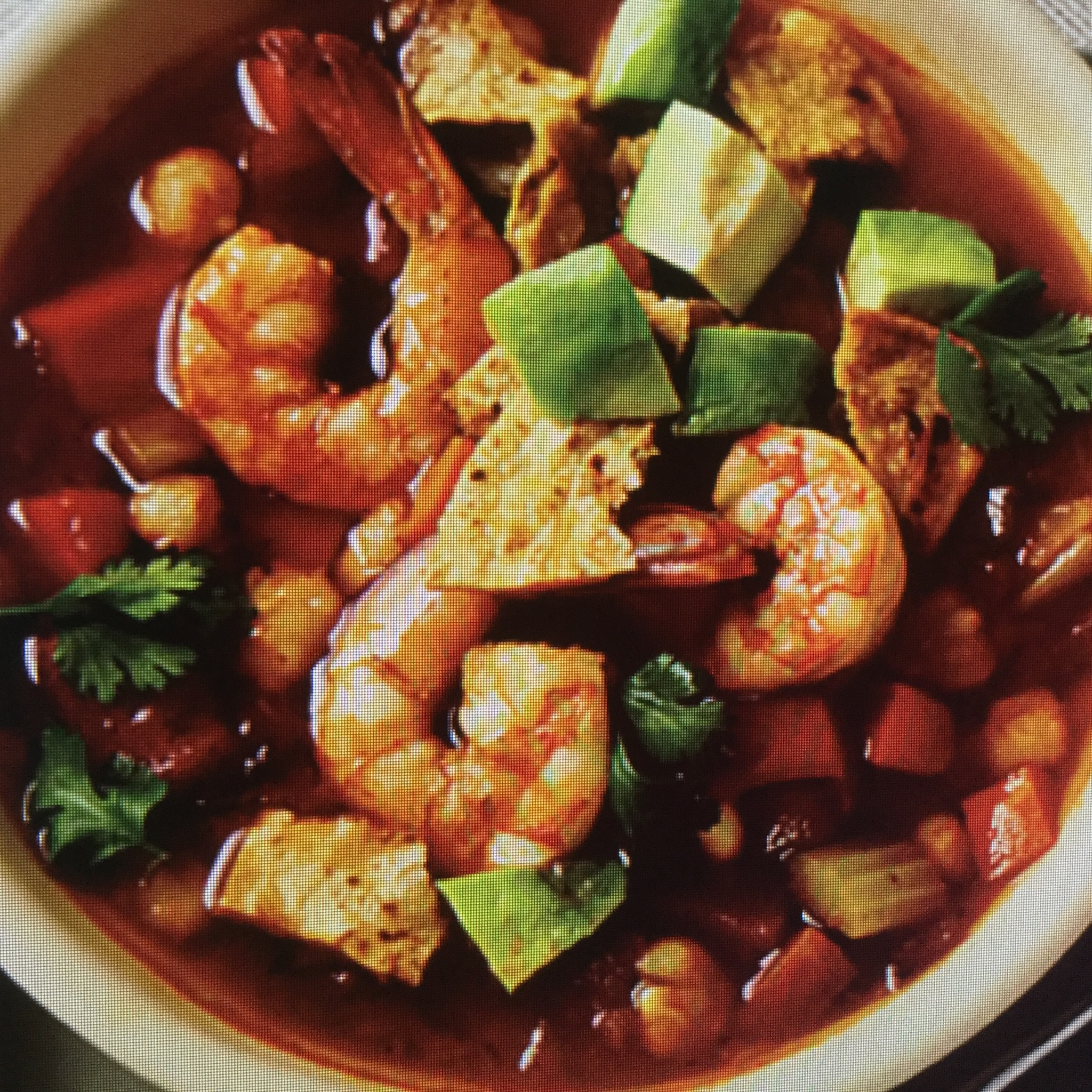 Smoky Spicy Tortilla Soup With Shrimp And Avocado