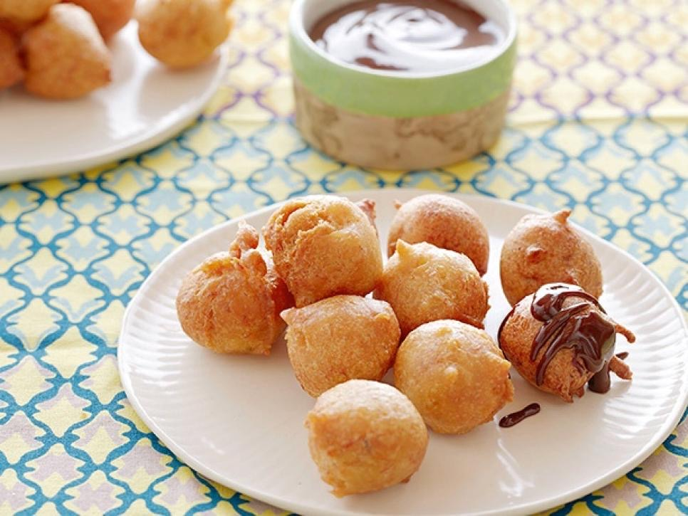 Amazing Peanut Butter Banana Fritters With Drizzled Chocolate