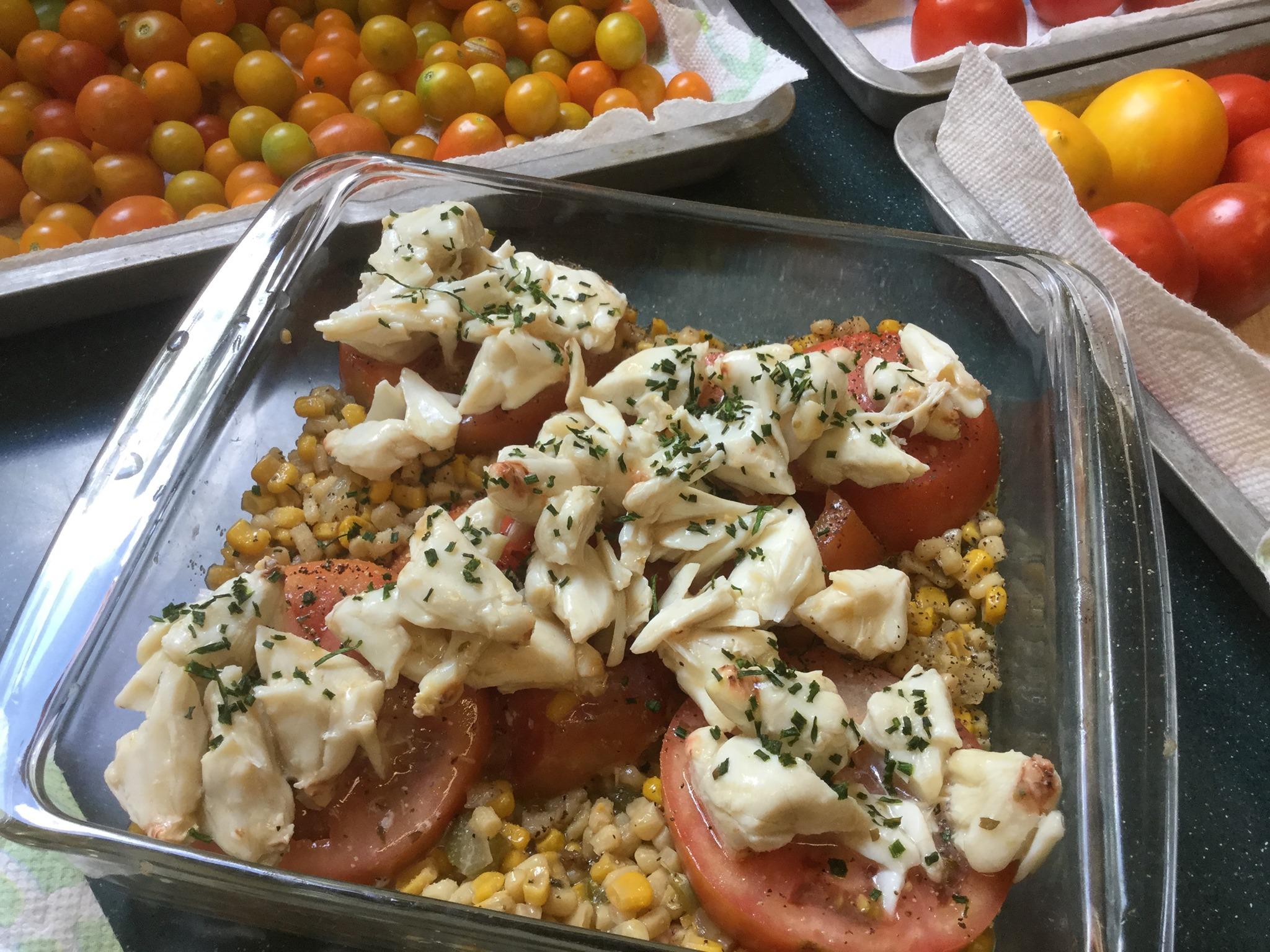 Jumbo Lump Crabmeat Topped Fresh Tomatoes Over Corn Casserole