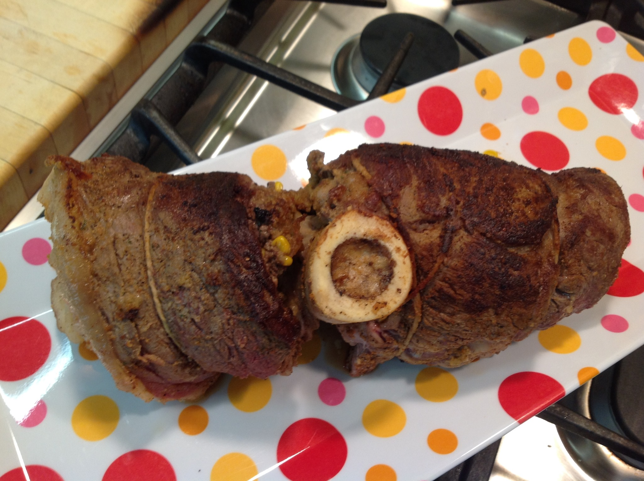 Simmering Stuffed Rolled-Up Round Steak With Crawfish Corn Saute