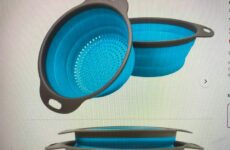 """Today's Gadget Is The COLLAPSIBLE COLANDERS. Collapsible Kitchenware Makes Saving Storage Space So Easy. Folding Strainer Can Be Folded Up To 2"""" High. The Colanders Have Non-slip Handles And A Comfortable Grip. They Sell For About $15/set. Also Comes In Various Colors."""