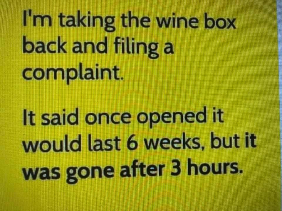 Im Taking The Wine Box Back...