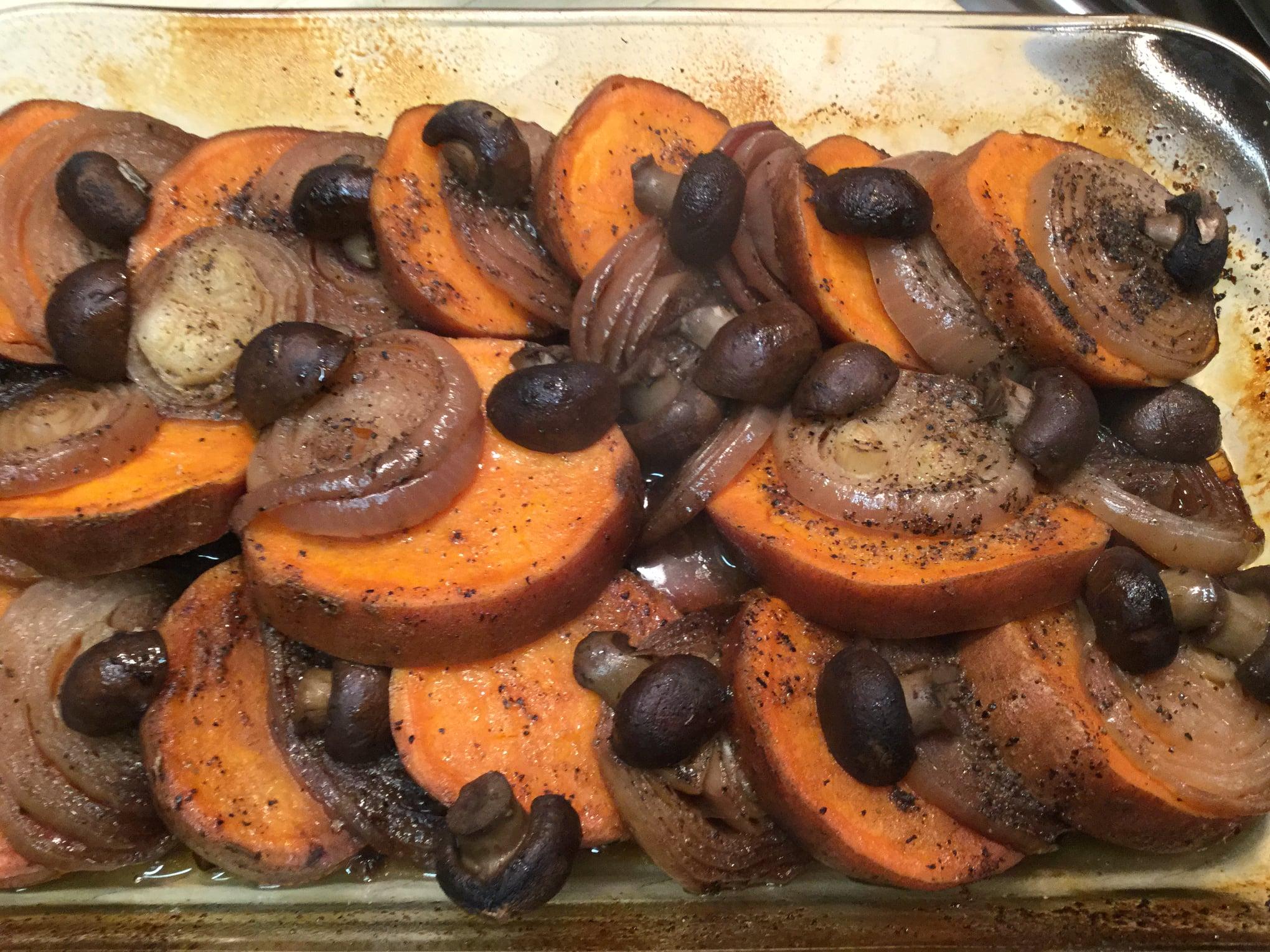 Layered Yams, Red Onion And Mushroom Casserole