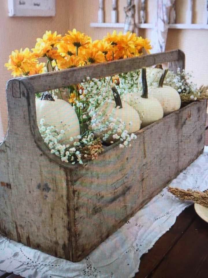 Old Wooden Tool Box Beautiful With Pumpkins And Flowers.