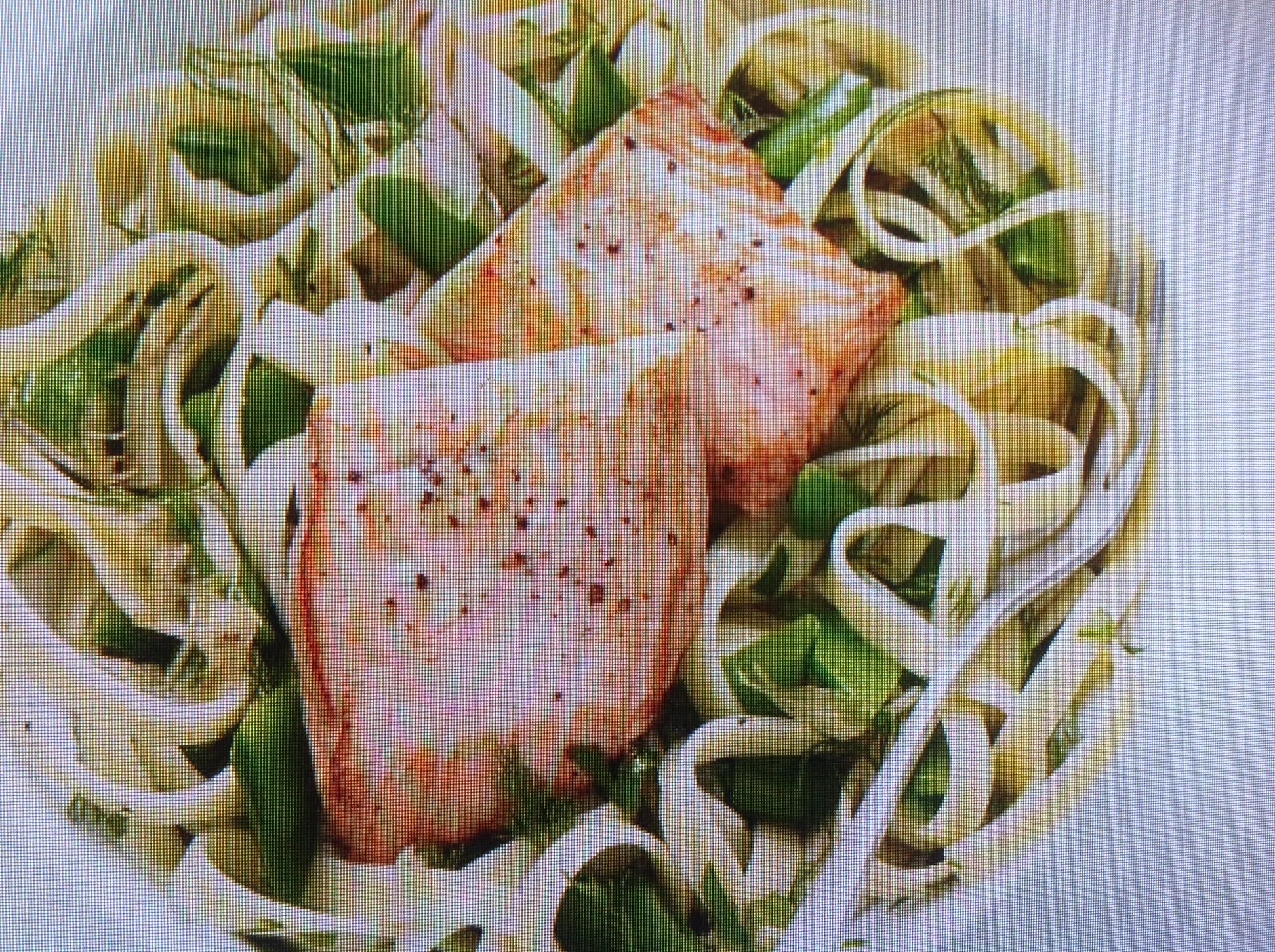 Pan Sauteed Salmon On Snap Peas And Fettuccine