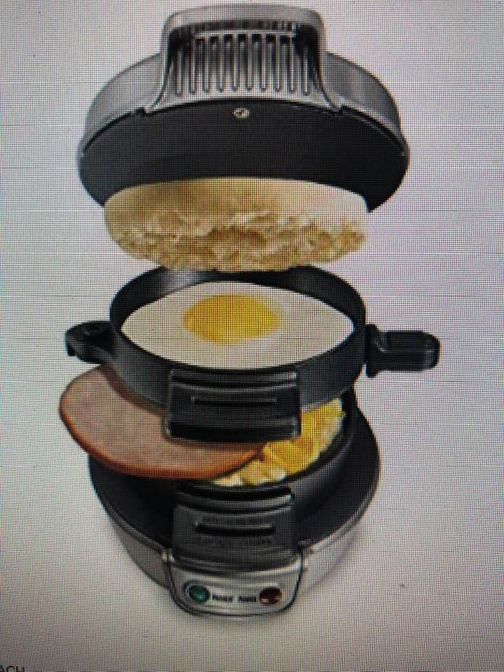 Today's Gadget Is The HAMILTON BEACH BREAKFAST SANDWICH MAKER. This GADGET Is Quick And Easy. The SANDWICH MAKER Cooks Your Breakfast, Lunch Or Dinner Sandwich In Just Minutes. Perfect For Brunch Or A Quick, Healthy Meal On The Go. Is The BREAKFAST MAKER To Completely Customize Your Sandwich With Your Choice Of Bread, Cheese, Eggs, Meats And Much More. Eliminate The Bread And These Are Great For KETO And PALEO DIETS. There Is Easy Cleanup. All Removable Parts Are Dishwasher Safe And Surfaces Are Covered With Durable, Nonstick Coating. There Are Also Included Quick And Easy Recipes. Sells For About $30, Real Bargain!